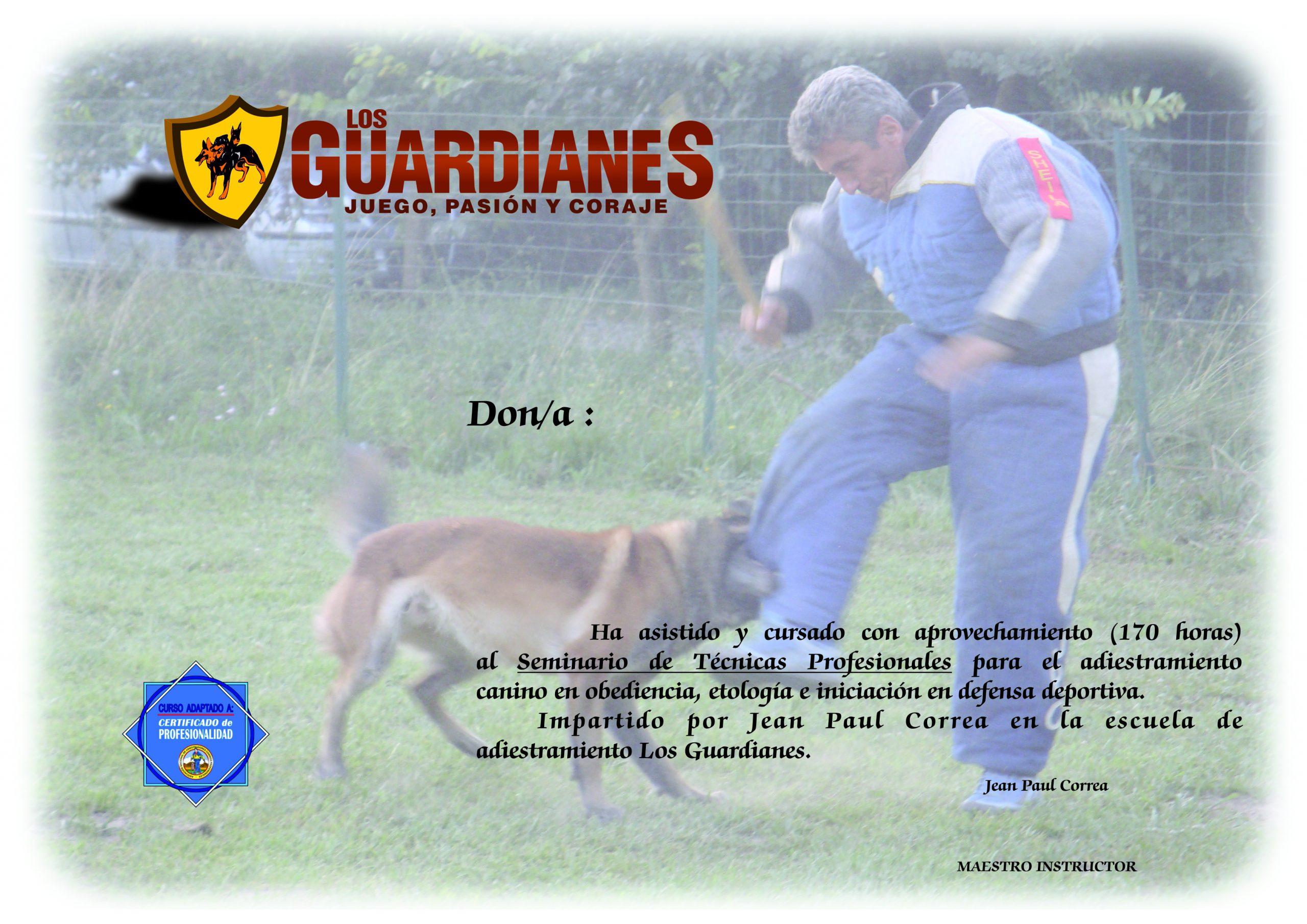 diploma Los Guardianes adiestrador canino