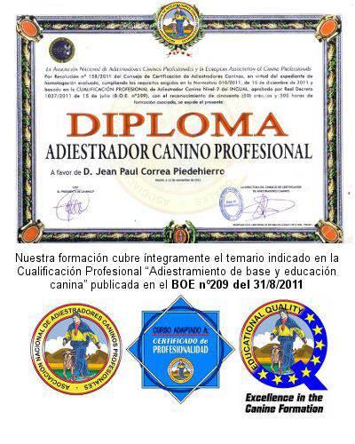 titulo diploma de educador canino